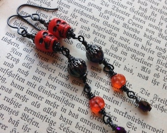Halloween Earrings. Pumpkin Queen Statement Chain Earrings.