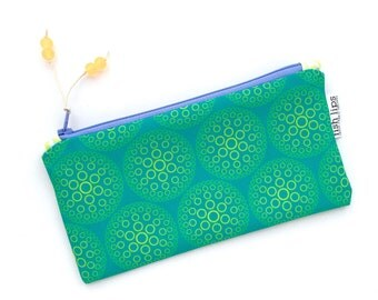 Teal Blue Urchins Recycled Canvas Zipper Pouch, Designer Pencil Case, Glass Bead Tassel, Handmade Gift for Her, Organizer Bag