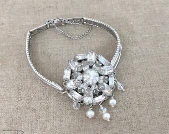 SALE - Vintage Rhinestone Bracelet Repurposed Watch Band Bracelet Pearl Bracelet Clear Rhinestone Handmade Assemblage Jewelry JryenDesigns