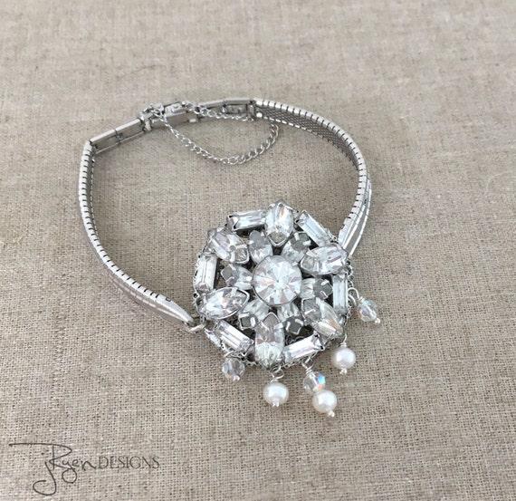 SALE - Vintage Rhinestone Bracelet - Repurposed Watch Band Bracelet - Clear Rhinestone Pearl Bracelet - Unique Jewelry Gift for Her