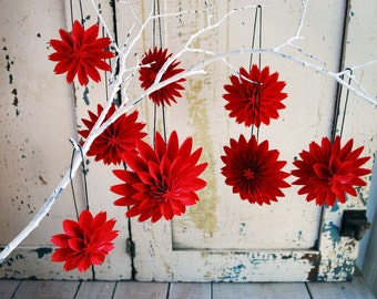 Ruby Red Ornaments, 8 Dahlia Paper Flowers, Paper Anniversary, Paper Dahlia Ornaments