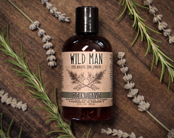 Mens Shaving Soap and Facial Cleanser - Wild Man Clean Shave - 4oz // 120ml