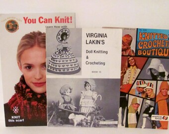 Three Vintage Knitting and Crocheting Books