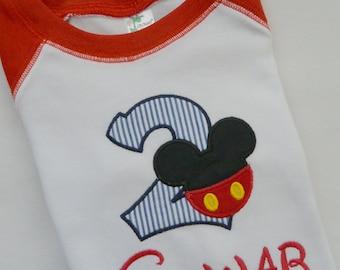 Mickey Mouse Birthday Baseball Shirt, 3/4 Sleeve, Personalized, Sizes 18 Mos - 5, Navy/White Red/White Black/White