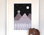 Mountain print, Art print, abstract art, She will move mountains, Illustration print