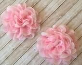 "Set of 2 Pink Chiffon and Lace Flowers - Large 3.5"" shabby scalloped petal puffy layered Ava flowers wholesale wedding bridesmaids flowers"
