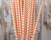 100 Orange Chevron vintage striped paper drinking straws - with FREE Flag Template