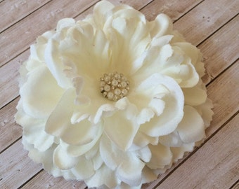 "Ivory Cream Fabric Flowers Large 4.5"" silk flower with crystal pearl center floral corsage flower DIY hair flower headband flower Nancy Col."