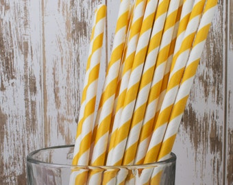 "paper straws - 100 Yellow striped paper straws drinking straws -  with FREE DIY Flag Template.  See also - ""Personalized"" flags option."