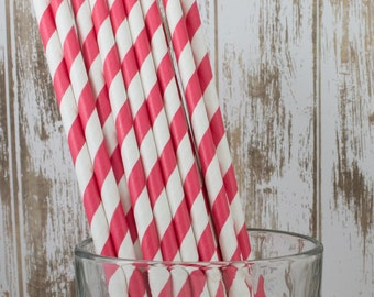 """100 red and white  barber striped paper drinking straws -  with FREE DIY Flag Template.  See also - """"Personalized"""" flags option."""