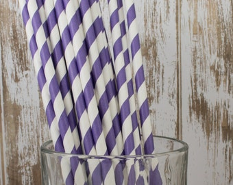 "100 Purple barber striped paper drinking straws - biodegradable  with FREE Blank Paper Flags.  See also - ""Personalized"" flags option."