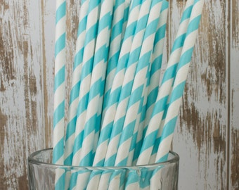 "25 Robin's Egg Aqua Blue barber striped paper drinking straws - biodegradable with FREE Blank Flag.  See also - ""Personalized"" flags option."