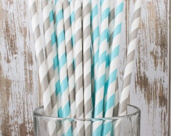 "50 Robin's Egg Blue & grey mixed combo barber striped paper drinking straws , FREE DIY Flags.  See also - ""Personalized"" flags option."