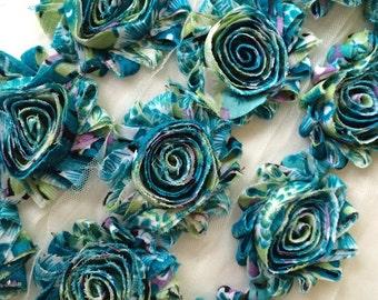"Turquoise floral Print Shabby Rose Trim  2.5"" Shabby Flowers Shabby Chiffon Flowers Printed Shabby Chic Trim Wholesale Rosette trim 6cm yard"