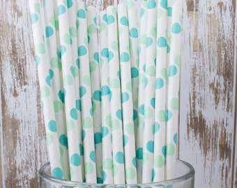 """100 aqua blue and green polka dot paper drinking straws - with FREE Blank Flag Template.  See also - """"Personalized"""" flags option."""