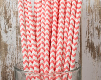 100 Coral Chevron vintage striped paper drinking straws - with FREE DIY Flag Template
