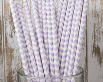 100 Ct Lavender Chevron vintage striped paper drinking straws - with FREE DIY Flag Template