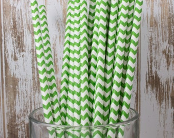 25 Green Chevron vintage striped paper drinking straws - with FREE DIY Flag Template