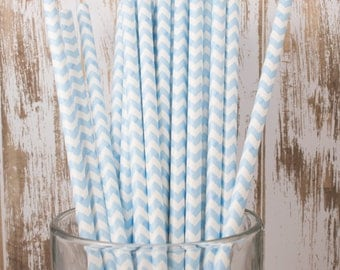 100 Ct Light Blue Chevron vintage striped paper drinking straws - with FREE DIY Flag Template