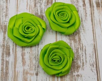 Lime Green Mini Satin Roses 4cm applique,floral embellishment, decoration, wedding, flat back, wholesale flowers