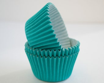 Aqua cupcake liners (approx 40 ct) - Solid Color baking muffin cups greaseproof bulk cupcake papers