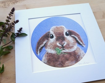 Chubby Bunny - Giclee Art Print Wool Painting Reproduction - Large