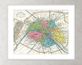Paris Map color illustration French Map