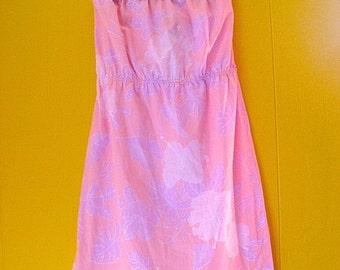 on sale Strapless Hawaiian Dress/Pink Vintage Dress/1980s Pastel Strapless Dress/Luau Dress/Vintage Clothing/Beach Wedding