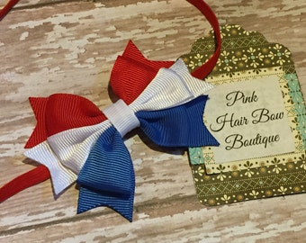 Red white and blue baby headband , patriotic 4th of July baby headband