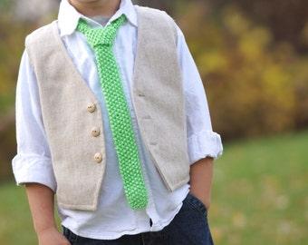 Boys Necktie, bright green, toddler necktie, knit neck tie
