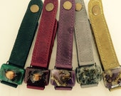"Leather and glass Bracelets. Handpainted fused glass, 1.0"" wide"