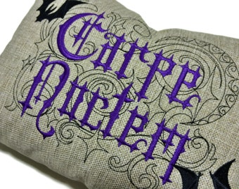 Seize the Night - Carpe Noctem - Embroidered pillow cover - Halloween Decor
