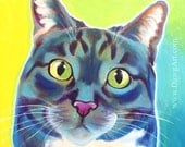 Cat, Pet Portrait, DawgArt, Cat Art, Colorful Cat, Pet Portrait Artist, Colorful Pet Portrait, Tabby Cat Art, Art Prints