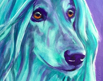 Afghan Hound, Pet Portrait, DawgArt, Dog Art, Pet Portrait Artist, Colorful Pet Portrait, Afghan Hound Art, Art Prints, Art