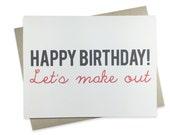 Funny Birthday Card, Boyfriend Birthday Card, Girlfriend Birthday Card, Kiss, Funny Wife Birthday Card, Husband Birthday Card, Make Out
