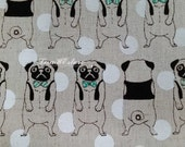 Pug in vest and bow tie, on ecru, fat quarter, cotton linen blended fabric