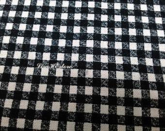 Black and ivory plaid, fat quarter, pure cotton fabric