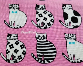 Cat with bow tie, on pink, fat quarter, pure cotton fabric