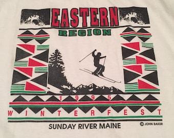 Vintage Maine Eastern Region Winterfest Skiing T-Shirt