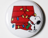 Merry Christmas Snoopy - 1 inch Button, Pin or Magnet