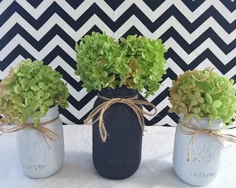 Set of 3 Painted Mason Jars, Rustic Mason Jars, Shabby Chic Mason Jars, Home Decor, Cottage Chic