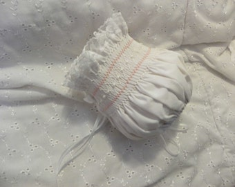New Born White Bonnet