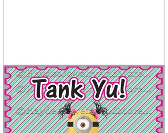 Folded Minions Girl Thank You Card ! INSTANT DOWNLOAD!!!