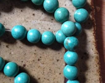 8mm bluish green Magnesite stone beads, destash, supplies, craft beads