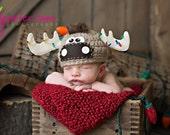 Moose hat with Christmas bulbs