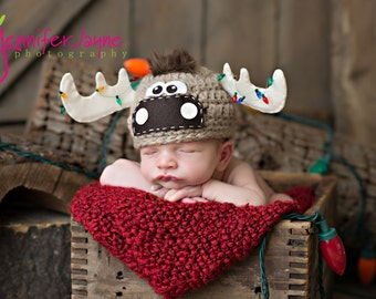 Moose hat with Christmas bulbs