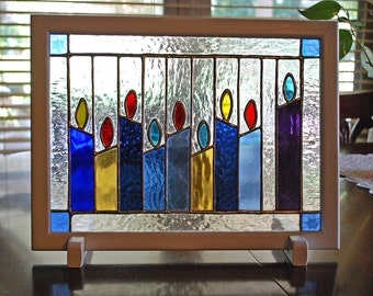 Stained Glass Panel Menorah Candles