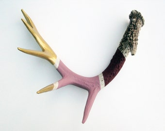 Gold, Mauve & Burgundy Striped Painted Antler - Extra Large