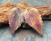 Matching Pair Unbe-Leafable Artisan Copper PMC Leaf Pendants