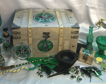 Custom Pagan Altar Set - Crafted to your Specifications - Handcrafted, Embellished Tools  this example: Ravens & Pentacles